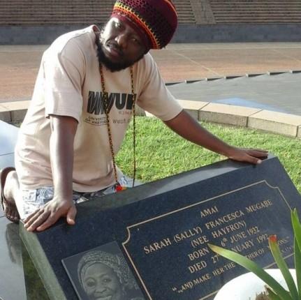 Blakk Rasta at the graveside of Prez Mugabe's late wife, Sarah Mugabe