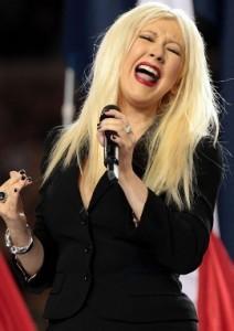 Christina Aguilera fluffs national anthem