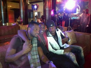 Psquare, Akon & MayD shooting video for Chop My Money rmx in Atlanta