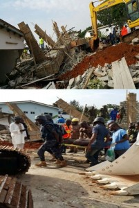 Photos: Building collapses at Cantonments; Rescue efforts still ongoing