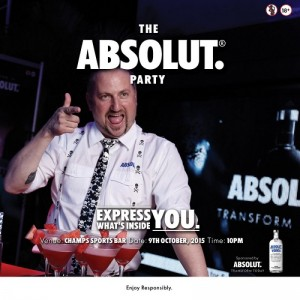 The Absolut Party goes to Champs Sports Bar Oct. 9