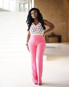 Yvonne Okoro in pink and sheer jumpsuit