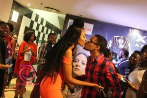 Yvonne Nelson and Jason El Agha Kissing for fans