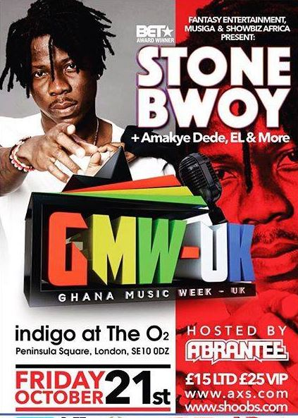 STONEBWOY: U.K. Finally… Friday 21st October @ Indig02