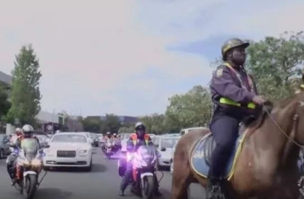 PHOTOS: South African Pastor arrives in Rolls Royce, horses and police escort to church