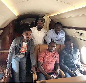 Nana Appiah Mensah jets off to Nigeria with Zylofon Media crew to inspect office