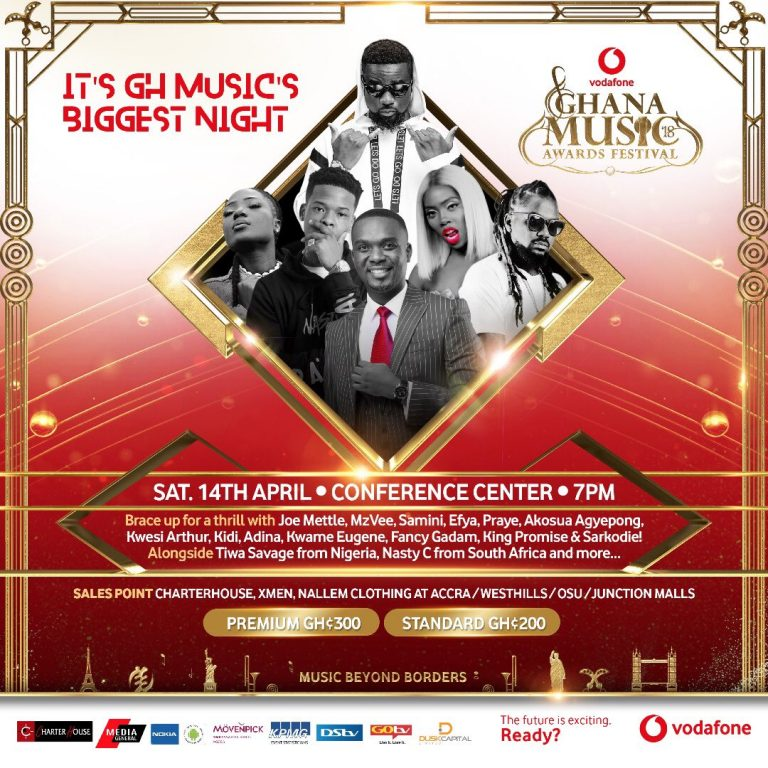 Sarkodie, Samini, Joe Mettle, Tiwa Savage And More Set To Perform At 2018 Vodafone Ghana Music Awards