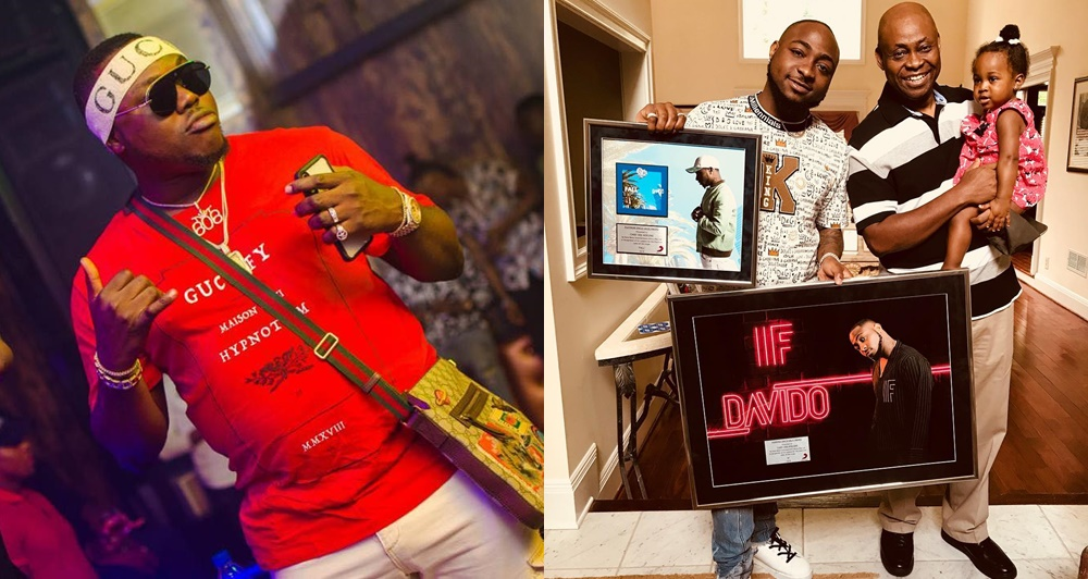 Davido shares lovely photo with his dad & daughter as his 'friend' 606 Autos is allegedly released from EFCC's custody