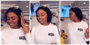 Shatta Michy Causes Commotion On The Internet As She Rocks In a Customized 'Reign Album' T-Shirt(VIDEO)