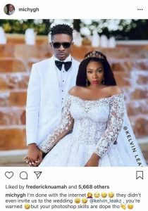 Shatta Michy Reacts To Photoshopped Wedding Picture Of Shatta Wale & Herself