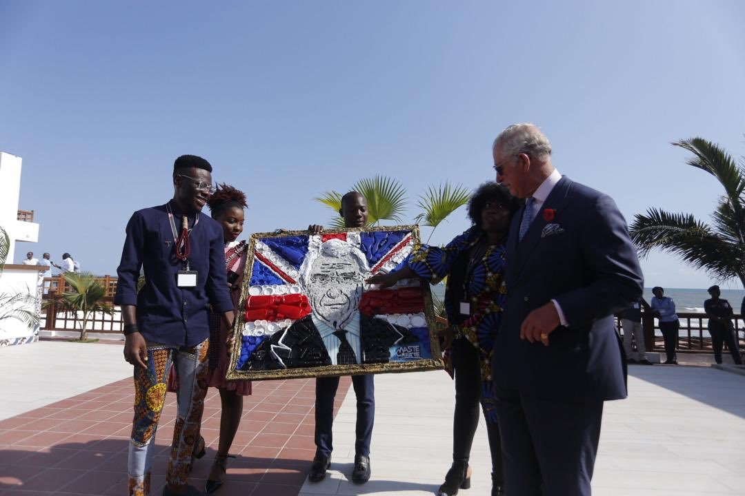 Ghanaian Artists Present A Recycled Art Portrait To Prince Charles