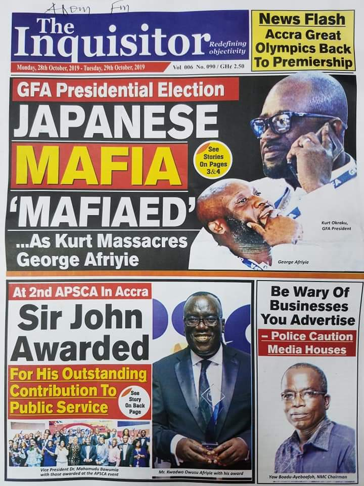 Newspaper Headlines, Monday, 28th October, 2019