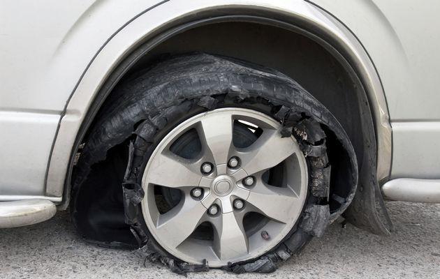 car tyre burst