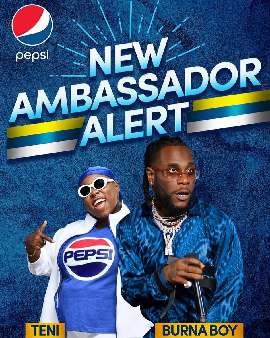 Burna Boy & Teni Becomes Pepsi's New Ambassadors in Nigeria