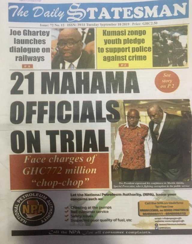 Photo :Today's Ghana Newspaper Front Page Tuesday September 10, 2019