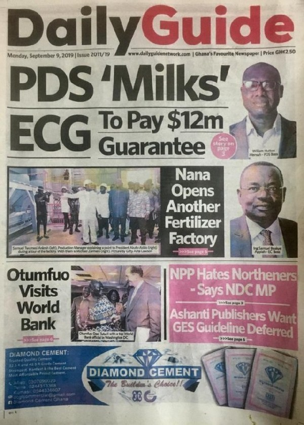Photo :Today's Ghana Newspaper Front Page Monday September 9, 2019