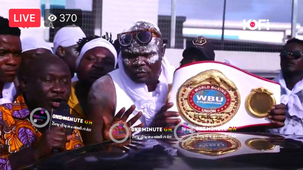 VIDEO: Bukom Banku finally arrives in Ghana as Bukom Chief welcomes him at KIA