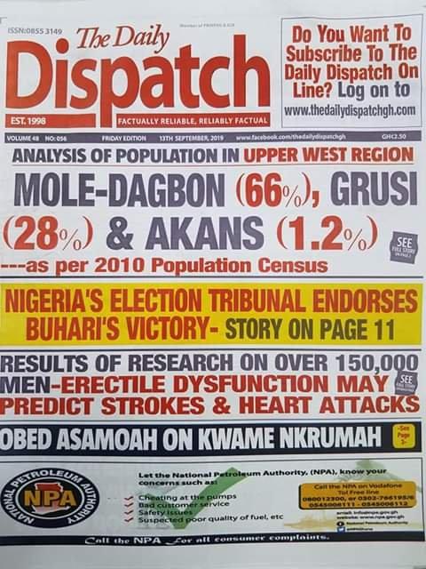 Newspaper Headlines,Friday, 13th September