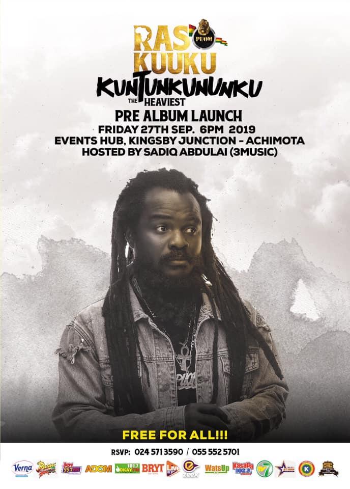 "Ras Kuuku ""Kuntunkununku Album""; Pre Launch event scheduled to Friday 27th September 2019"