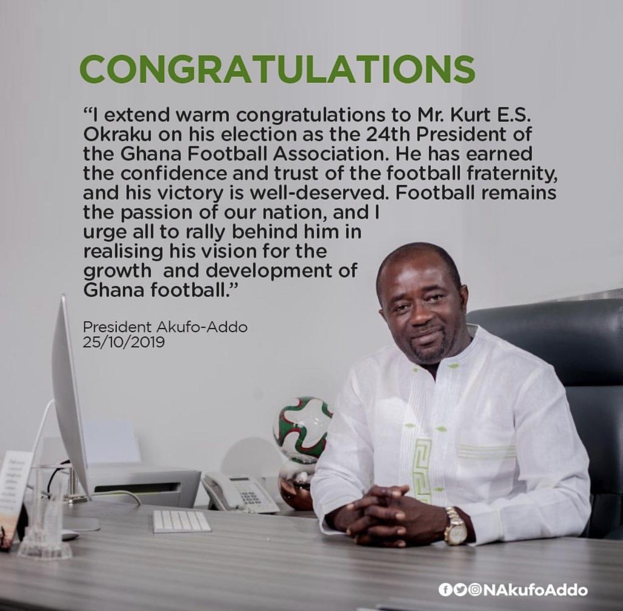 Akufo-Addo sends congratulatory message to FA president