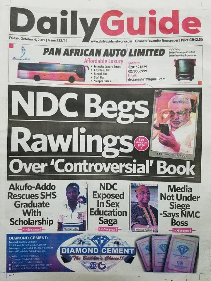 Newspaper Headlines, Friday, 4th October, 2019