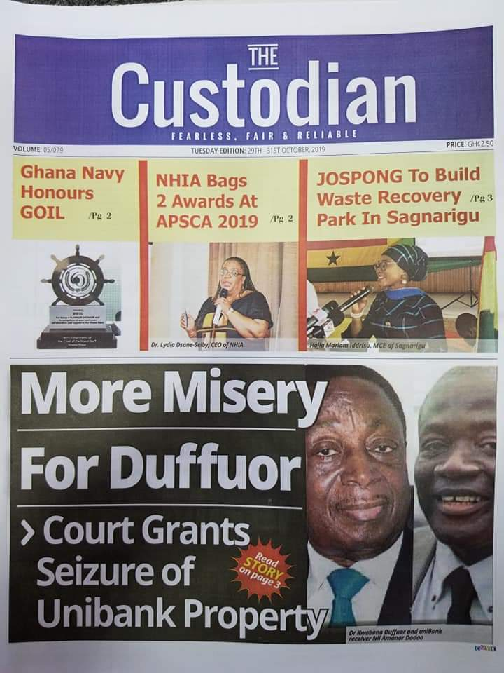 Newspaper Headlines, Tuesday, 29th October, 2019