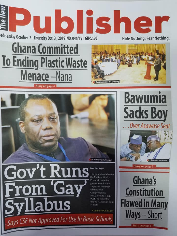 Newspaper Headlines, Wednesday, 2nd October, 2019
