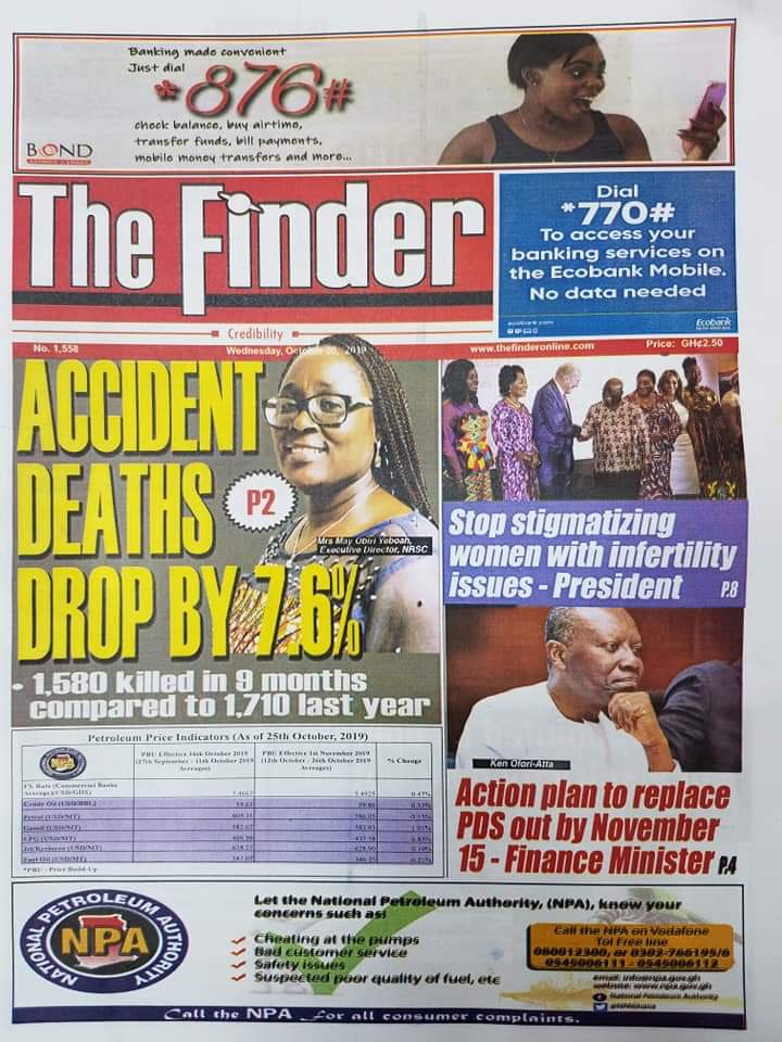 Newspaper Headlines, Wednesday, 30th October, 2019