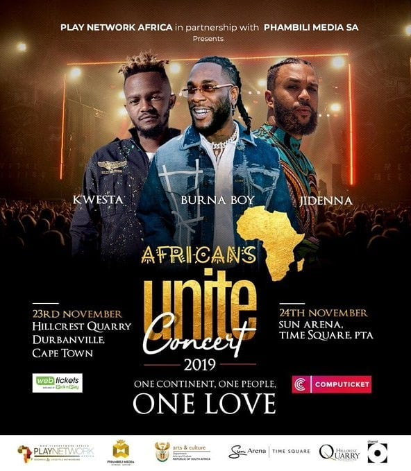 Protest Against Burna Boy By South Africans Over Inclusion In Concert