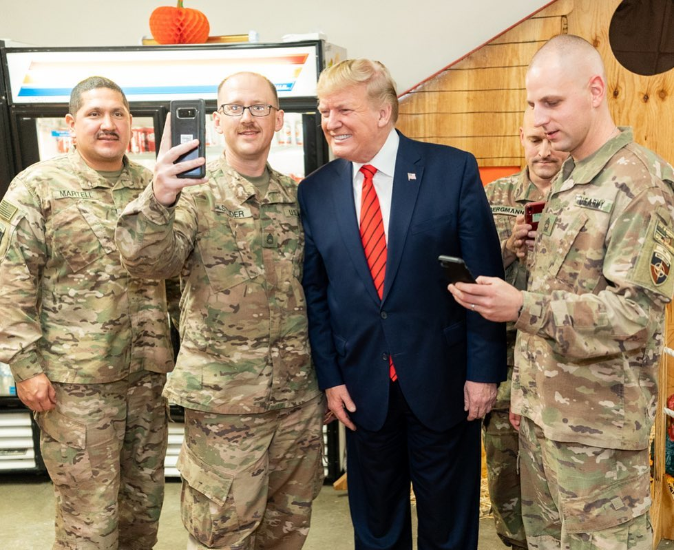The US President makes a surprised trip to Bagram Air Base and addresses soldiers