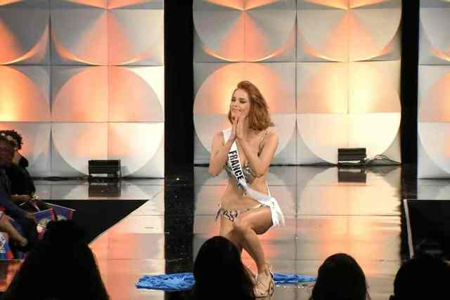 Miss Universe: Contestants fall on wet stage floor (video)