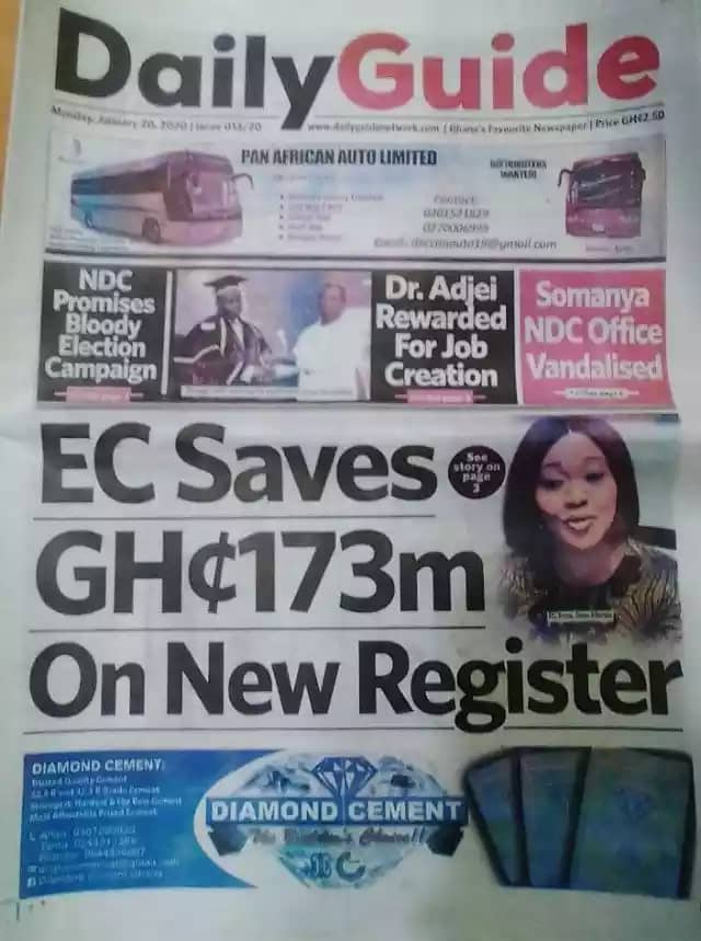 Newspaper Headlines, Monday, 20th January, 2020