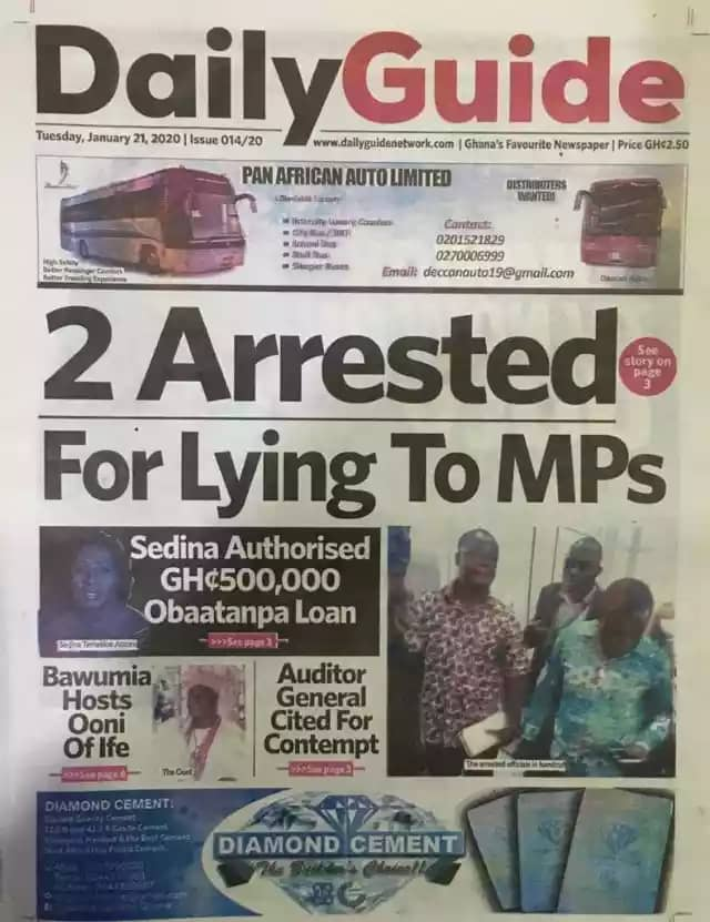 Newspaper Headlines, Tuesday, 21st January, 2020