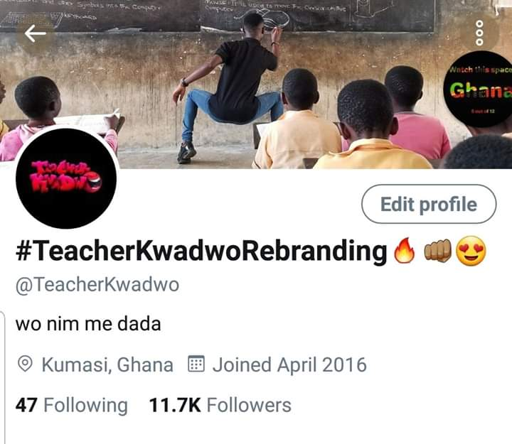 Ungrateful Comedian ~ Teacher Kwadwo cries over a whooping 11,700 followers on Twitter.
