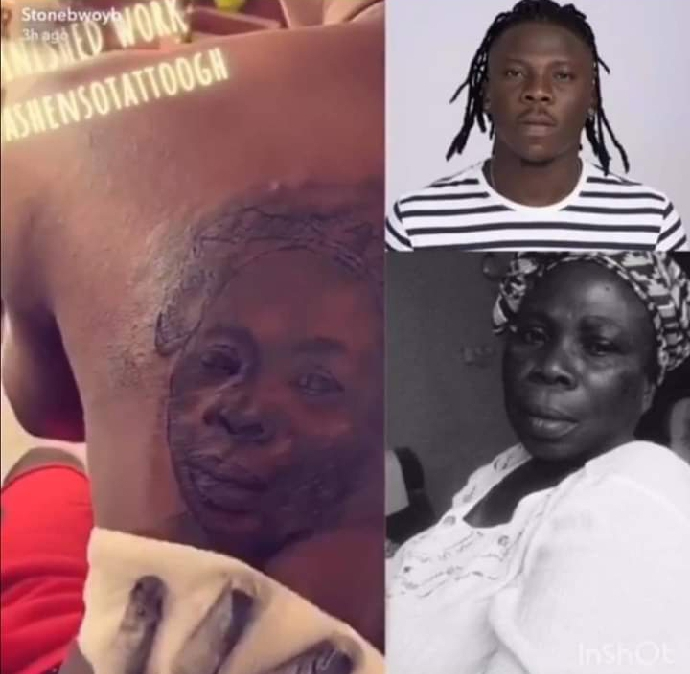 Stonebwoy tattoos his late mum's face on him…