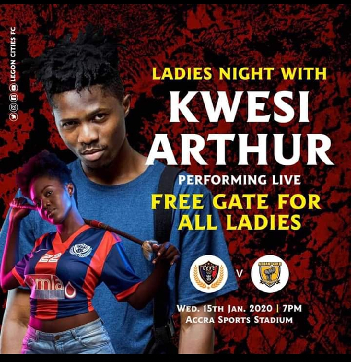 Legon Cities vs Ashgold, today at 7pm with Kwesi Arthur.