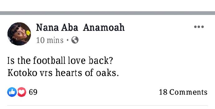 Nana Aba Anamoah creates a poll to check the love for Ghana football…