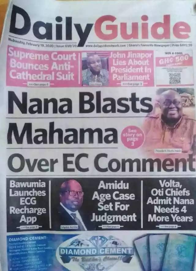 Newspaper Headlines, Wednesday 19th February,2020