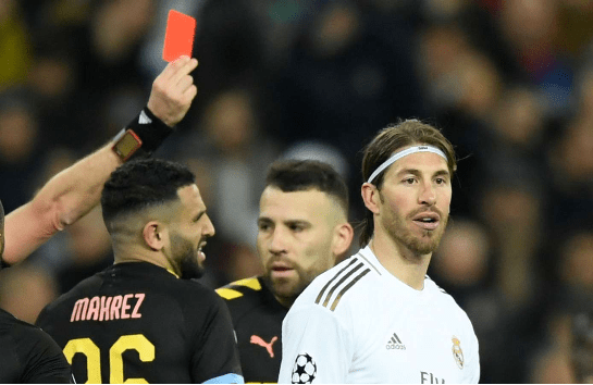 """Sergio Ramos noted for earliest and more """"sent offs""""."""
